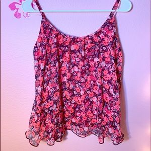 EXPRESS - Flowery Spaghetti Strap Crop Top.